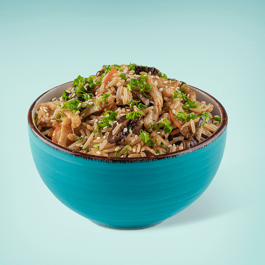 Rice with Chicken, Shiitake Mushrooms and Black Pepper Sauce